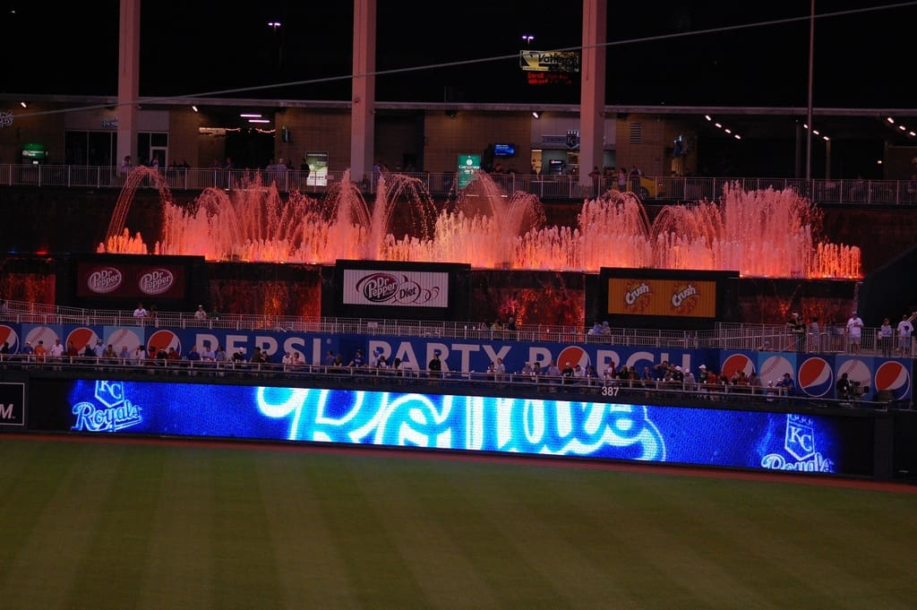 Fountains at Night at Kauffman Stadium