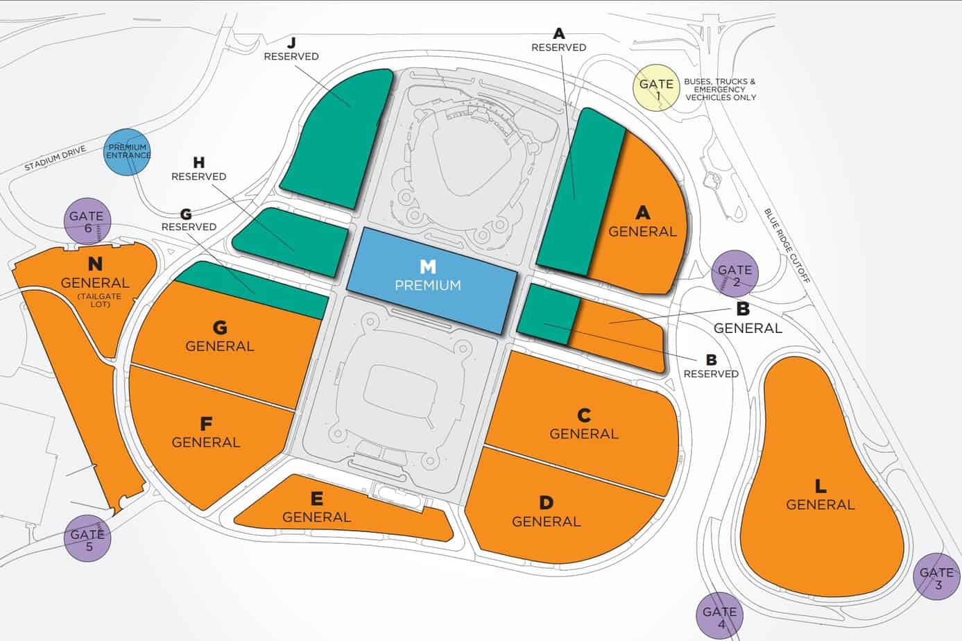 Parking Map at Kauffman Stadium