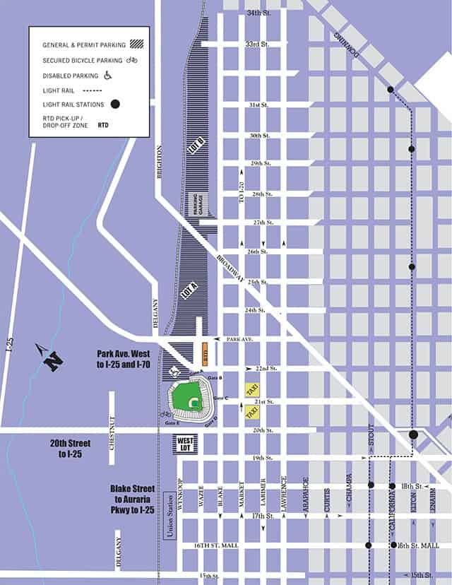Parking Map for Coors Field